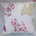 "Scotties and Ditsy Flower Print 16"" Cushion Cover Matches Next Little Dogs"